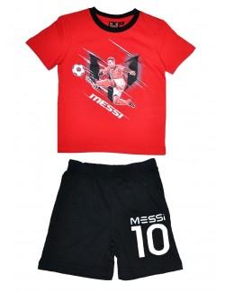 Pijama vara Leo Messi 4-8 ani rosu-negru