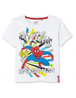Tricou baieti Spiderman 3-8 ani, alb