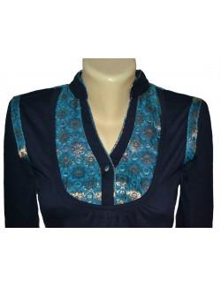 Bluza femei S - M guler tunica, bleumarin