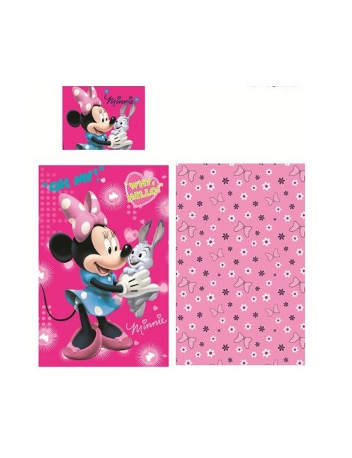 Lenjerie pat Disney Minnie Mouse si Iepurasul 140 X 90 cm