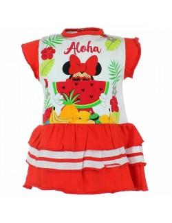Rochie de vara Minnie Mouse cu pepene 6-24 luni, rosie