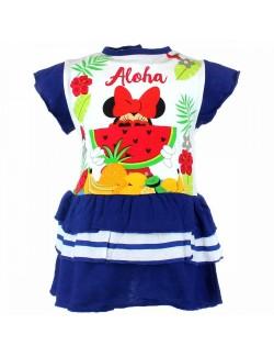 Rochie vara Minnie Mouse cu pepene 6-24 luni, albastra
