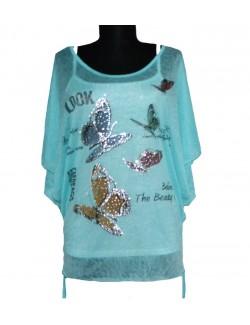 Bluza casual cu maneca fluture XL pentru femei