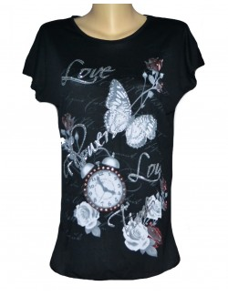 Tricou lung femei Flowers & Time S - XL (38-44)