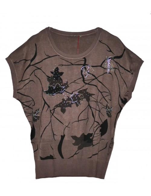 Bluza maro cu pietricele pentru femei, L