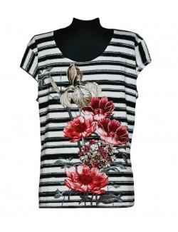 Tricou femei 48-50 cu dungi si flori rosii