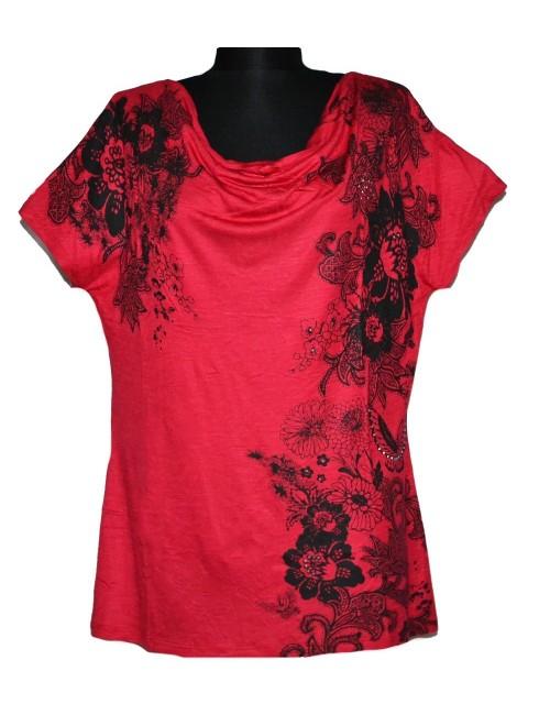 Bluza rosie decolteu in falduri femei L
