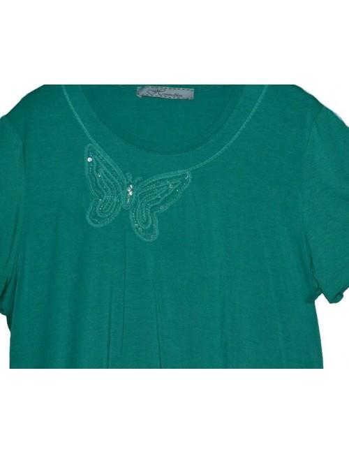 Tricou femei, verde cu fluture din paiete, m 46