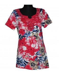 Bluza femei model floral cu dantela rosie, 38