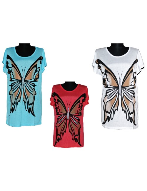 Tricou femei lung cu Fluture mare S-XL