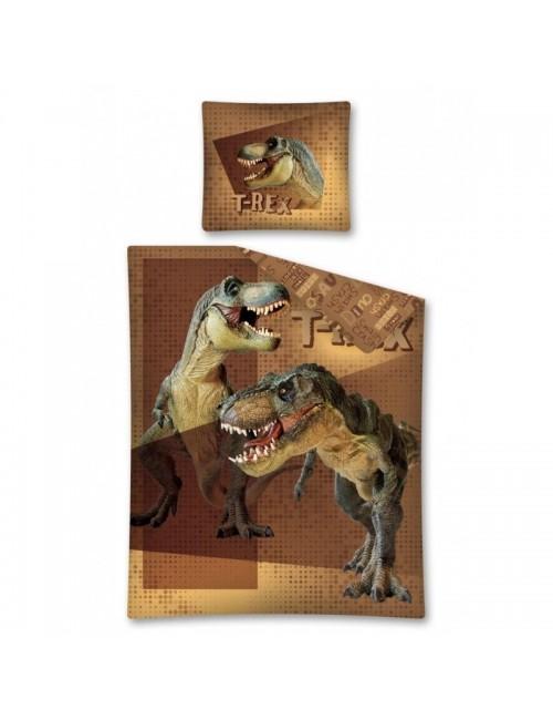 Lenjerie pat Dinozauri T-Rex, 140 x 200 cm, maro