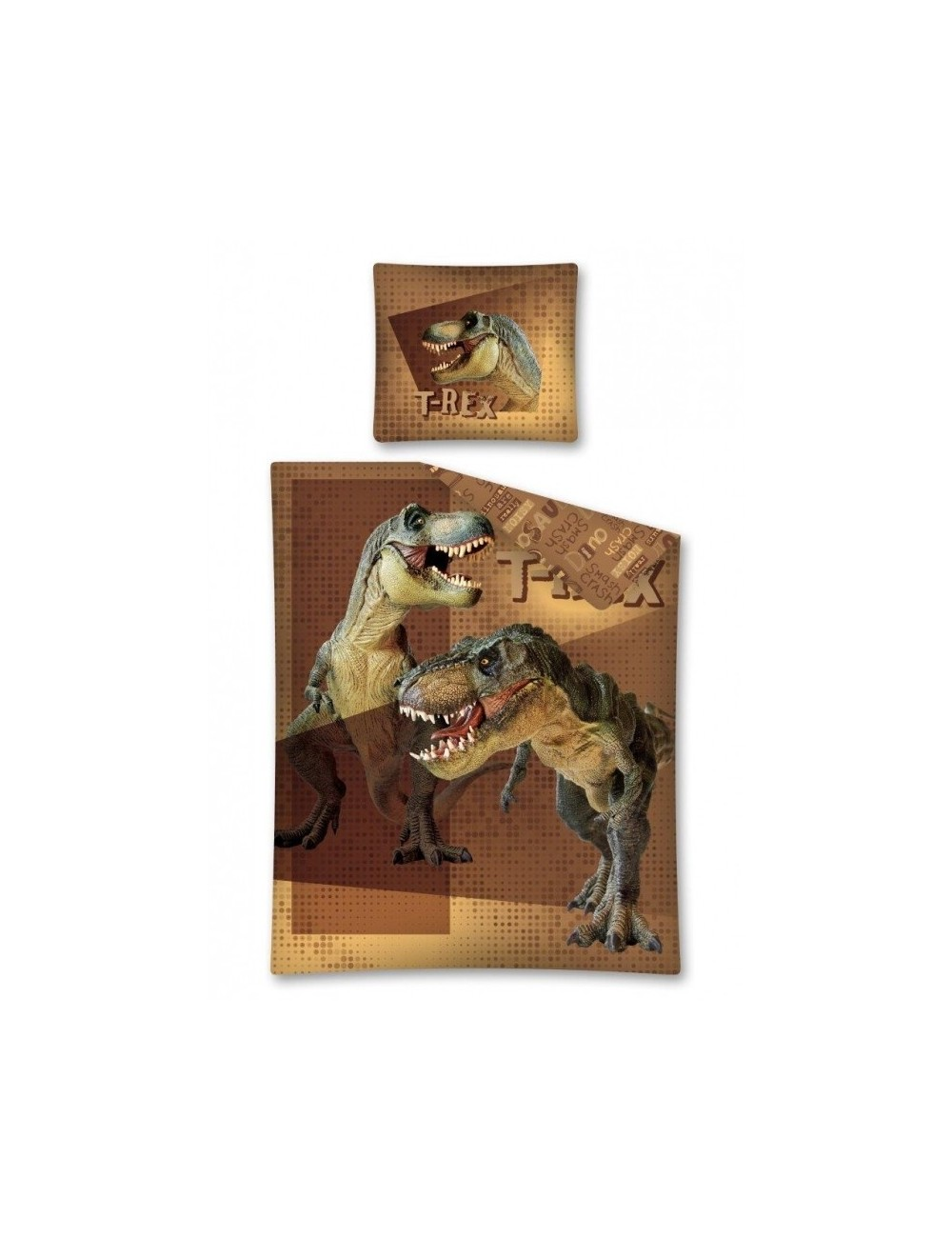 Lenjerie pat Dinozauri T-Rex 140 x 200 cm maro