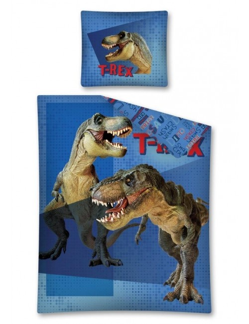 Lenjerie pat Dinozauri T-Rex albastra 140 x 200 cm
