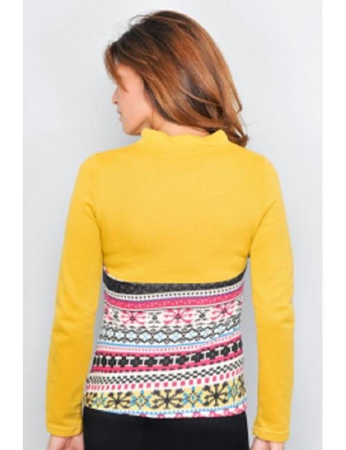 Pulover dama tricotat galben - mustar