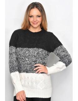 Pulover tricotat cu torsade si romburi pentru femei L-XL