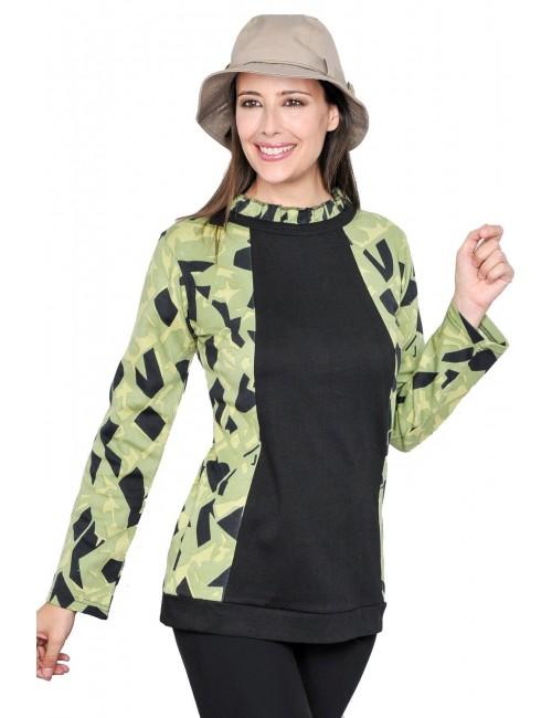 Bluza lunga pentru femei, negru - verde S - XL