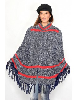 Poncho tricotat pentru femei bleumarin - alb