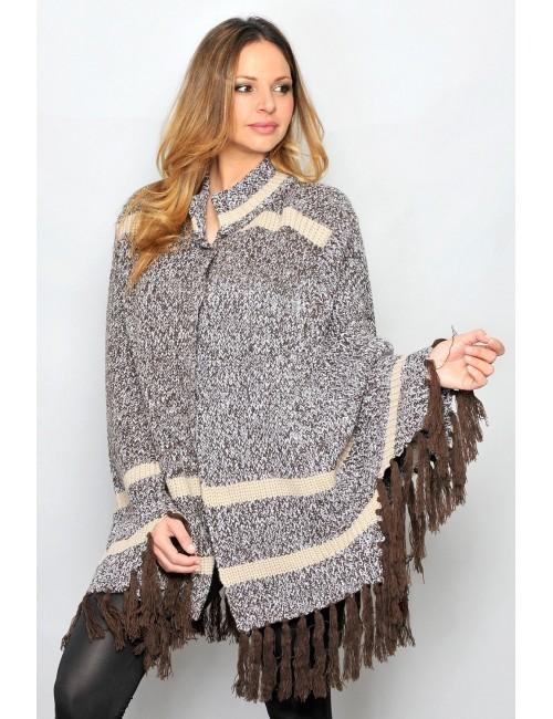 Poncho tricotat pentru femei maro-bej