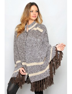 Poncho tricotat pentru femei, maro-bej