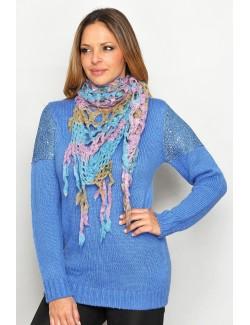 Pulover lung culoare albastra pentru femei M - XL