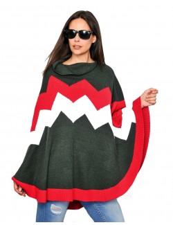 Poncho tricotat cu guler asimetric pentru femei