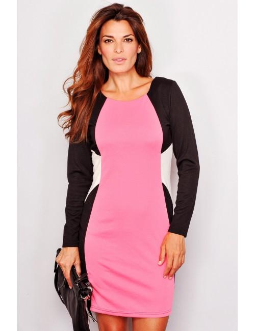 Rochie roz cu efect optic de subtiere M - XL