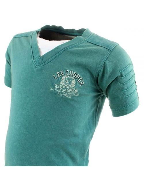 Tricou verde Lee Cooper guler V copii 6 - 14  ani