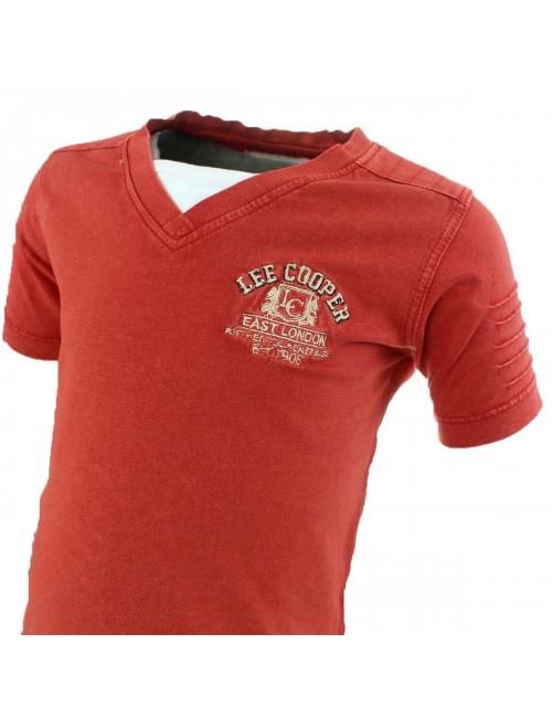 Tricou rosu Lee Cooper guler V copii 6 - 14  ani