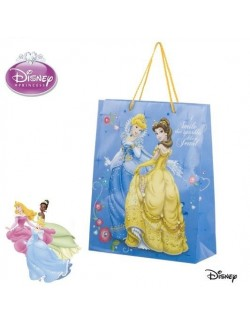 Punga cadou Printesele Disney bleu -32 x 26 cm