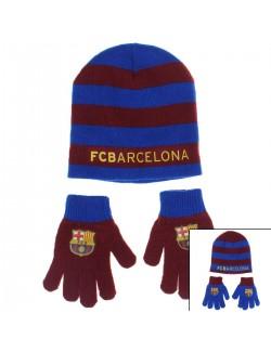 Set caciula si manusi FC Barcelona copii