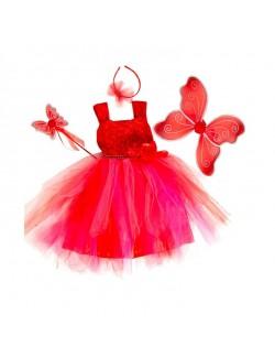 Rochie rosie cu accesorii Zana 2 - 6 ani