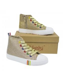 Pantofi sport tip bascheti Bkelsi 26-33, auriu