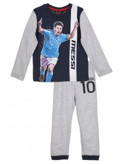 Pijama Messi, copii 4 ani, gri-bleumarin