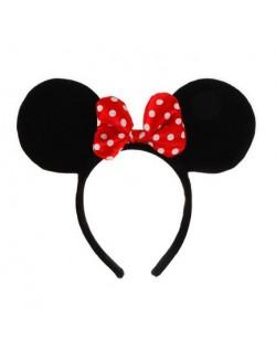 Bentita Minnie Mouse cu urechi si fundita rosie