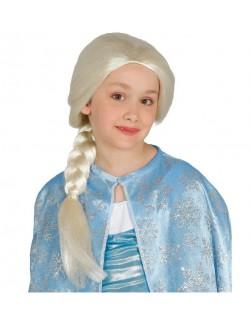 Peruca Printesa, cu coada impletita, pentru copii