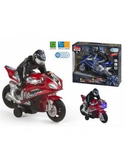 Motocicleta cu lumini, muzica si motociclist