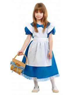 Costum serbare: Rochie albastra cu sortulet alb
