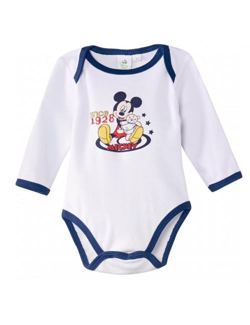 Body Disney Mickey Mouse, alb/bleumarin , 3-23 luni
