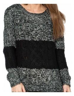 Pulover gros femei, model impletit negru/alb