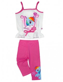 Set Maiou si colanti copii, My Little Pony, alb/roz