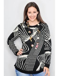 Pulover iarna femei, model abstract negru-alb M-XL