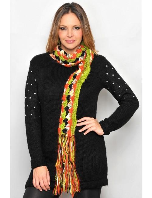 Pulover femei, mohair negru, M - XL