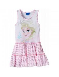 Rochie copii, Elsa - Frozen, alba cu inimioare roz, 2-8 ani