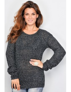 Pulover femei negru cu fir argintiu 29I14-226-B