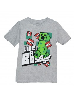 Tricou copii, Minecraft Creeper - TNT, gri