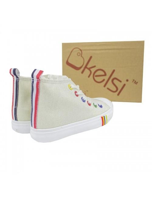 Pantofi sport tip bascheti copii, Bkelsi, 26-33, alb stralucitor