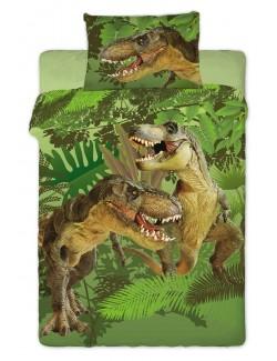 Lenjerie pat Dinozauri T-Rex, verde, 160 x 200 cm