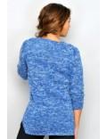 Pulover femei, albastru cu alb
