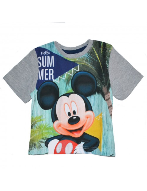 Tricou copii, Mickey Mouse Hello Summer, gri, 2 - 7 ani