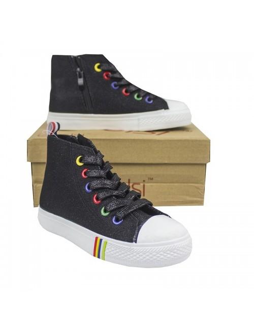 Pantofi sport tip bascheti copii, 26-33, negru stralucitor